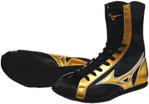 Mizuno High-Cut Type Boxing Shoes - Black · Gold