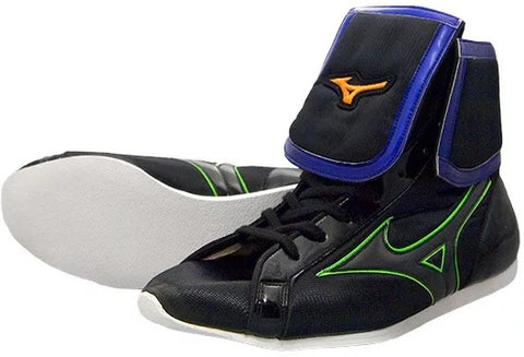Mizuno Mid-Cut FOLD Type Boxing Shoes - Black · Green · Purple