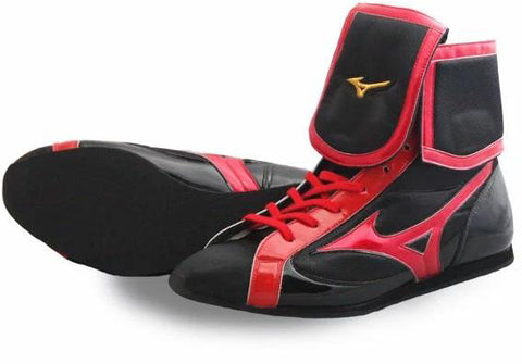 Mizuno Mid-Cut FOLD Type Boxing Shoes - Black · Red