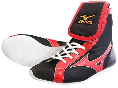 Mizuno Mid-Cut Type Boxing Shoes - Black · Red