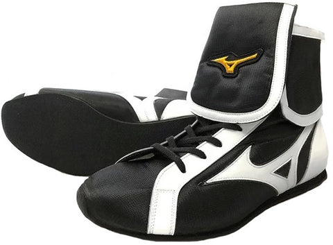 Mizuno Mid-Cut FOLD Type Boxing Shoes - Black · White