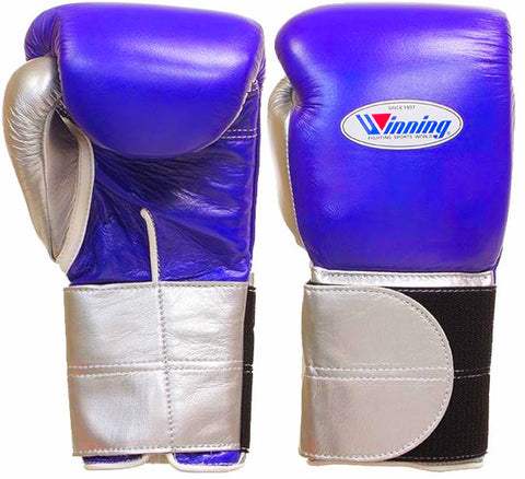 Winning Purple/Silver Double Velcro Boxing Gloves