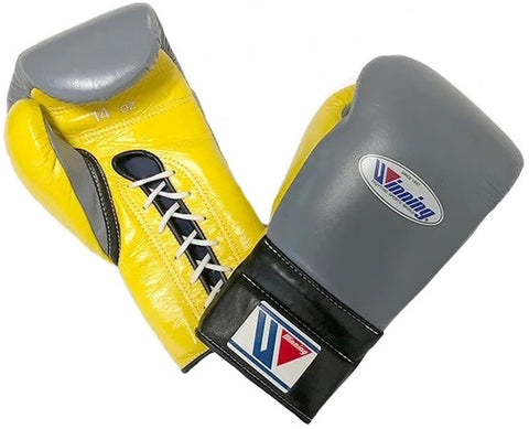 Winning Lace-up Boxing Gloves - Gray · Yellow · Black
