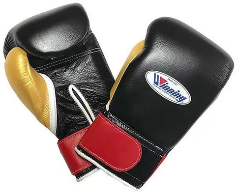 Winning Velcro Boxing Gloves - Black · Red · Gold