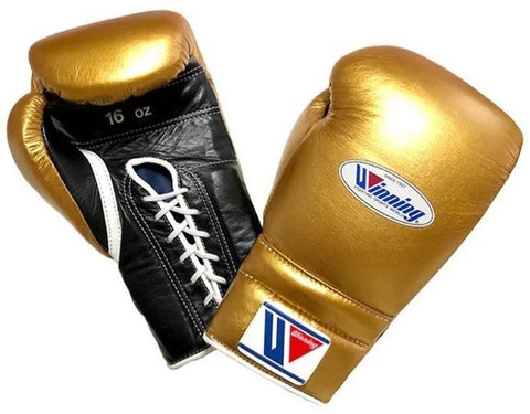 Winning Lace-up Boxing Gloves - Gold · Black