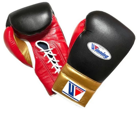 Winning Lace-up Boxing Gloves - Black · Red · Gold