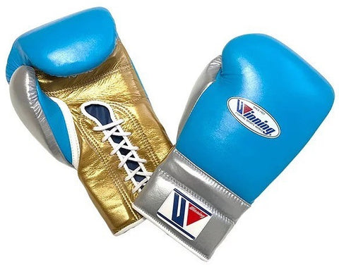 Winning Lace-up Boxing Gloves - Sky Blue · Silver · Gold