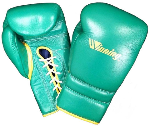 Winning Lace-up Boxing Gloves - Special Logo - Green · Gold
