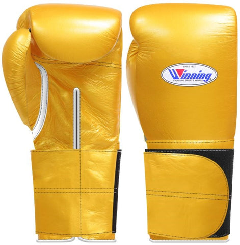 Winning Wide Velcro Boxing Gloves - Gold
