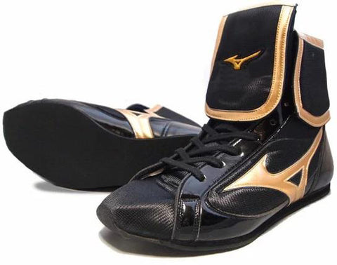 Mizuno Mid-Cut FOLD Type Boxing Shoes - Gold · Black
