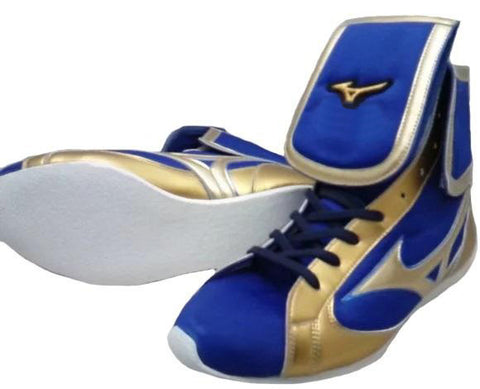 Mizuno Mid-Cut FOLD Type Boxing Shoes - Gold · Blue