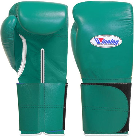 Winning Wide Velcro Boxing Gloves - Green
