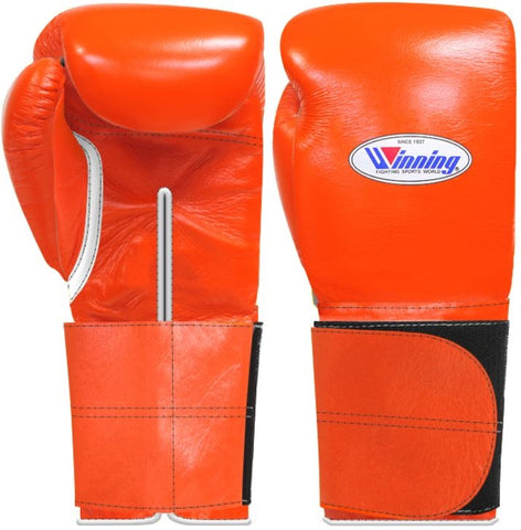 Winning Wide Velcro Boxing Gloves - Orange