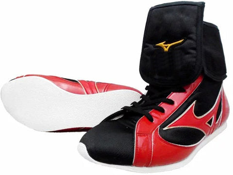 Mizuno Mid-Cut FOLD Type Boxing Shoes - Red · Black