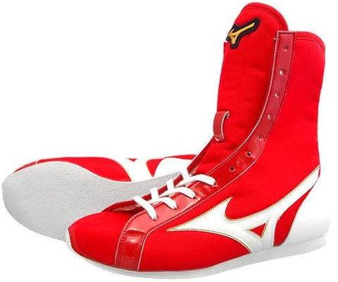 Mizuno High-Cut Type Boxing Shoes - Red · White
