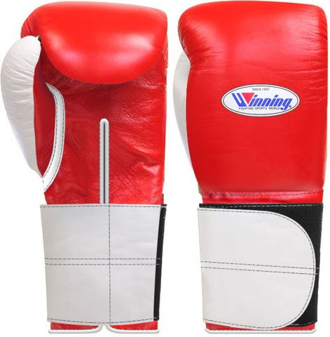 Winning Wide Velcro Boxing Gloves - Red · White