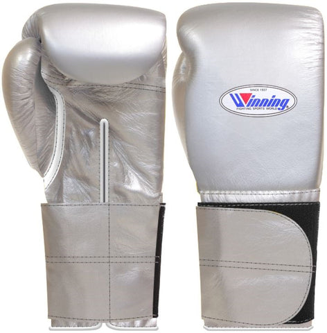 Winning Wide Velcro Boxing Gloves - Silver