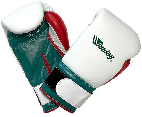 Winning Velcro Boxing Gloves - Special Logo - White · Green · Red