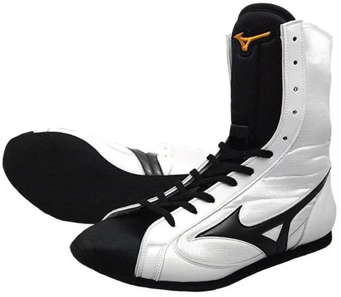 Mizuno High-Cut Type Boxing Shoes - White · Black