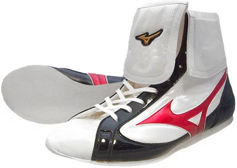 Mizuno Mid-Cut FOLD Type Boxing Shoes - White · Black · Red