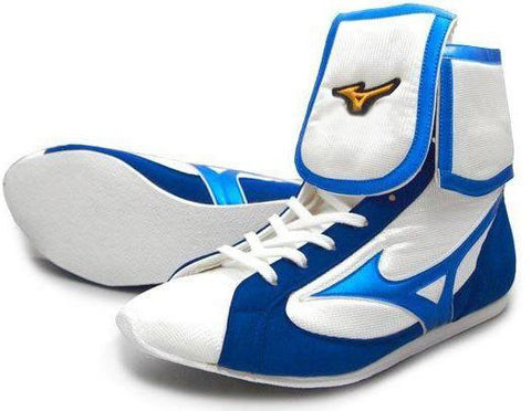 Mizuno Mid-Cut FOLD Type Boxing Shoes - White · Blue