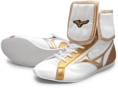 Mizuno Mid-Cut FOLD Type Boxing Shoes - White · Gold