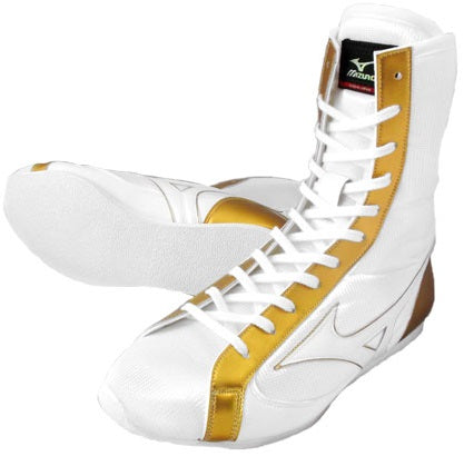 Mizuno High-Cut Type Boxing Shoes - White · Gold