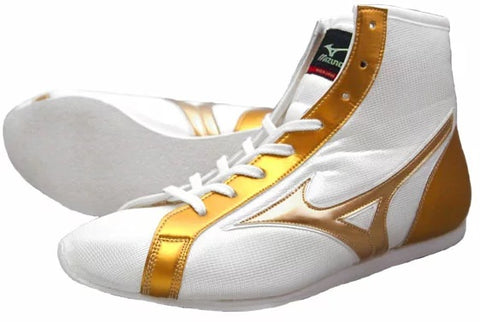 Mizuno Short-Cut Type Boxing Shoes - White · Gold