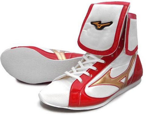 Mizuno Mid-Cut FOLD Type Boxing Shoes - White · Red · Gold