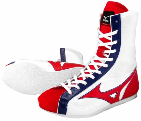 Mizuno High-Cut Type Boxing Shoes - White · Red · Navy
