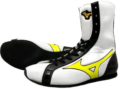 Mizuno High-Cut Type Boxing Shoes - White · Yellow · Black