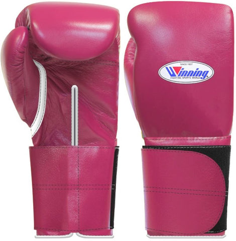 Winning Wide Velcro Boxing Gloves - Wine Red