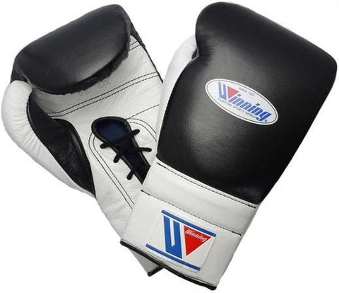 Winning Lace-up Boxing Gloves - Black · White - WJapan Store