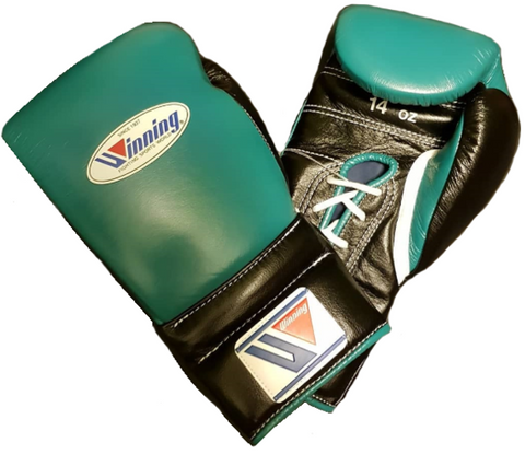 Winning Lace-up Boxing Gloves - Green · Black - WJapan Store