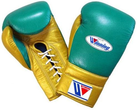 Winning Lace-up Boxing Gloves - Green · Gold - WJapan Store