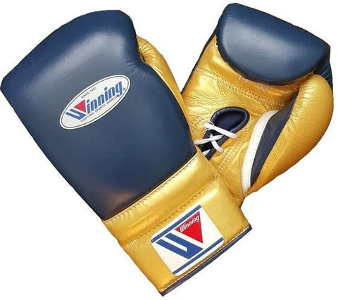 Winning Lace-up Boxing Gloves - Navy · Gold