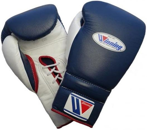 Winning Lace-up Boxing Gloves - Navy · White · Red - WJapan Store