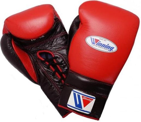 Winning Lace-up Boxing Gloves - Red · Black - WJapan Store