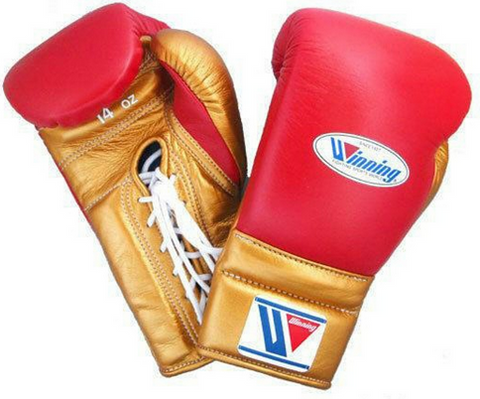 Winning Lace-up Boxing Gloves - Red · Gold - WJapan Store