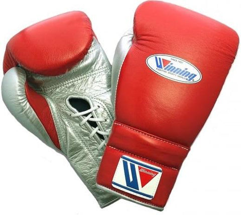 Winning Lace-up Boxing Gloves - Red · Silver - WJapan Store