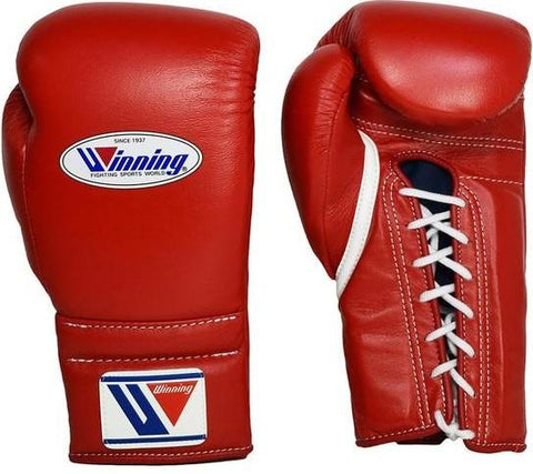 Winning Lace-up Boxing Gloves - Red