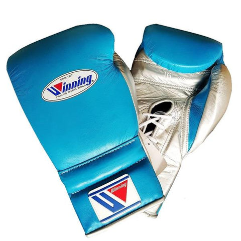 Winning Lace-up Boxing Gloves - Sky Blue · Silver - WJapan Store