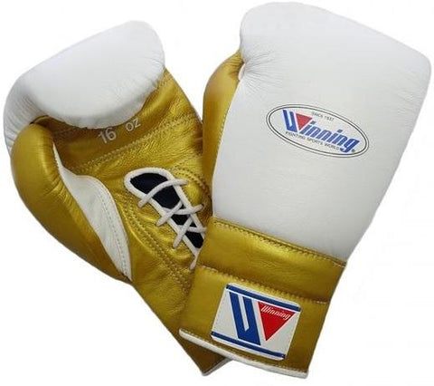 Winning Lace-up Boxing Gloves - White · Gold - WJapan Store