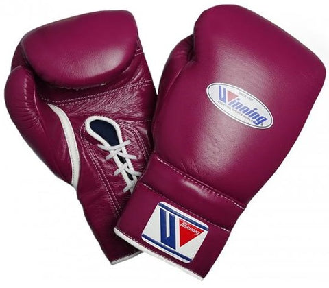 Winning Lace-up Boxing Gloves - Wine Red - WJapan Store