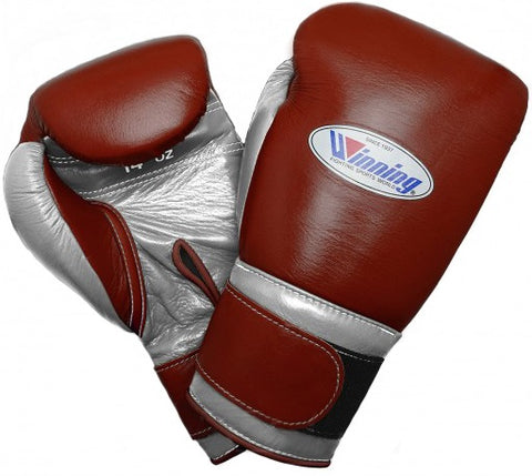 Winning Velcro Boxing Gloves - Brown · Silver - WJapan Store