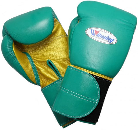 Winning Green/Gold Double Velcro Boxing Gloves - WJapan Store