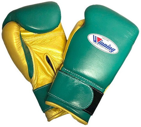 Winning Velcro Boxing Gloves - Green · Gold - WJapan Store