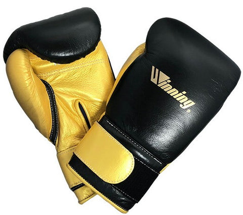 Winning Velcro Boxing Gloves - Special Logo - Black · Gold - WJapan Store