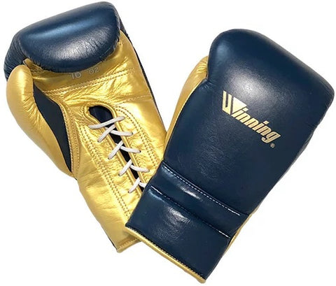 Winning Lace-up Boxing Gloves - Special Logo - Navy · Gold