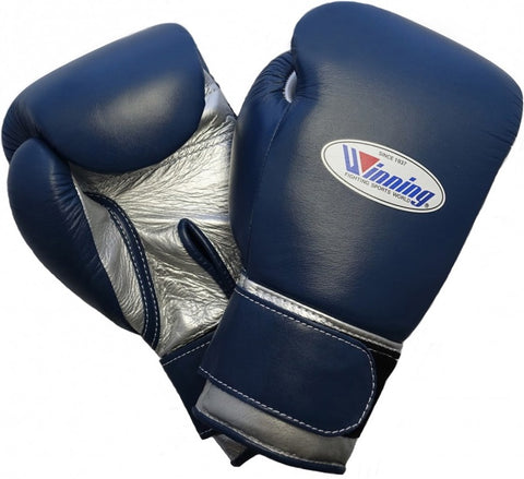 Winning Velcro Boxing Gloves - Navy · Silver - WJapan Store